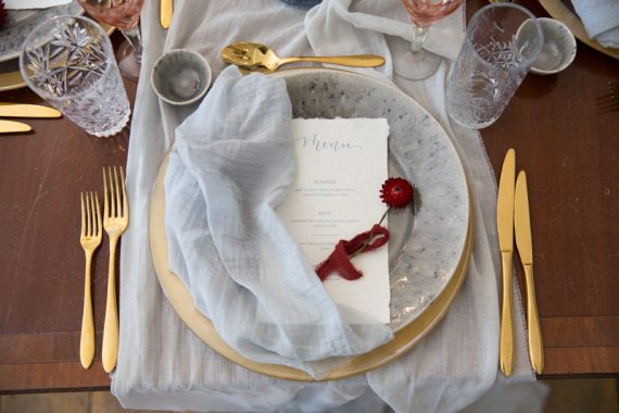 Place setting at a wedding at Weston Manor House in Oxfordshire