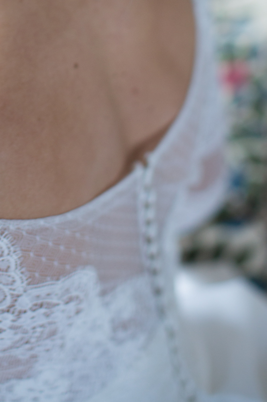 Bridal gown detail at Weston Manor House Hotel