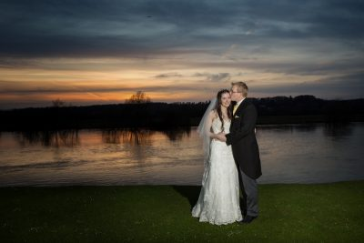 Sunset wedding photograph at Bisham Abbey