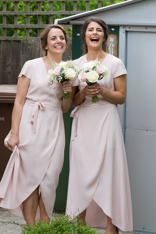 Bridesmaids looking happy before Henley Teepee Weding