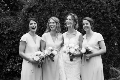 Bride and her bridesmaids all ready to go to church in Oxfordshire