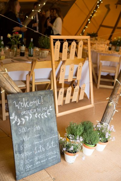 Wedding table plan at teepee wedding near Henley on Thames