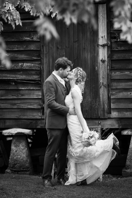 Bride and Groom at their farm teepee wedding near Henley