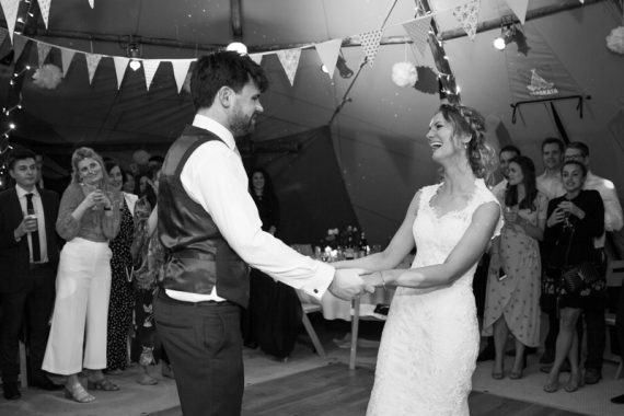 Bride and Groom on dancefloor at Henley Teepee wedding