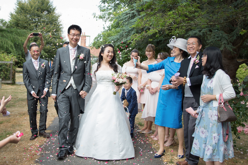 Couple at their wedding at Hurley near Henley on Thames