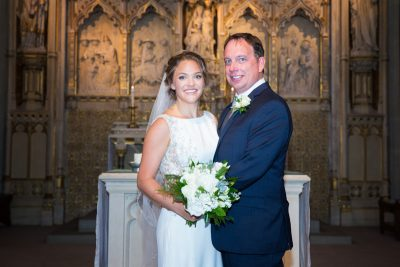 Bride and Groom portrait at Sacred Heart Church in Henley