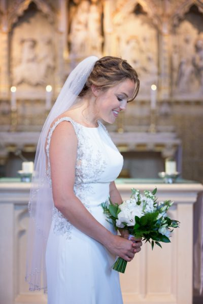 Bridal portrait inside Sacred Heart Church wedding in Henley on Thames