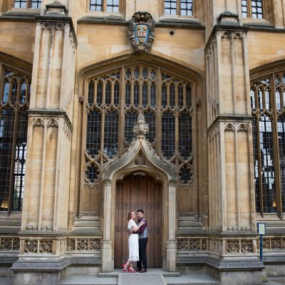 Couple outside Bodleian Library in Oxford