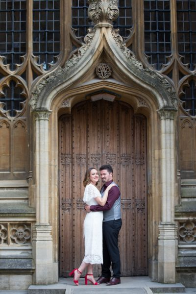Bride and Groom at their wedding photo shoot in Oxford