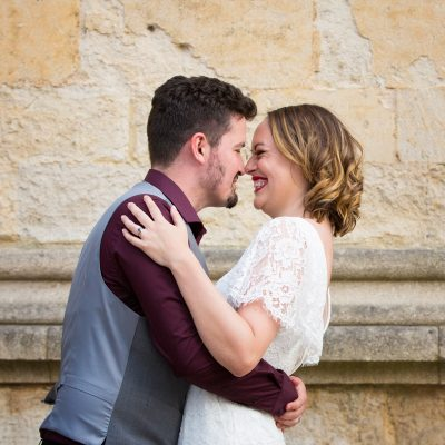 Bride and Groom looking happy at their Bodleian Library wedding