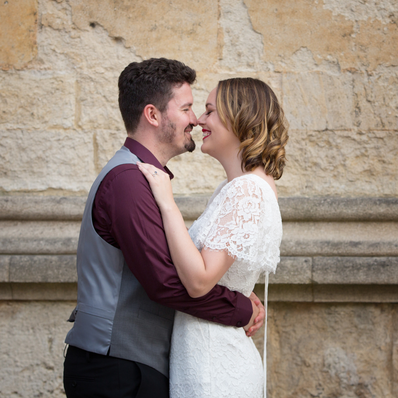 Couple at their Bodleian Library wedding