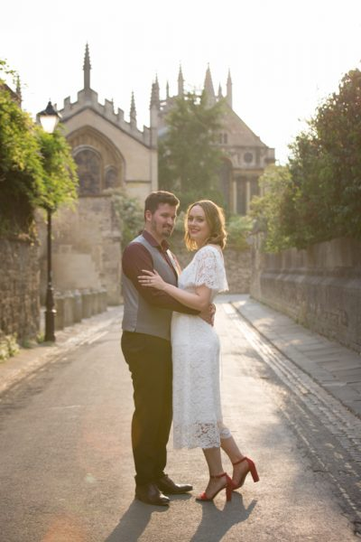 Beautiful backlit portrait of Bride and Groom in Oxford