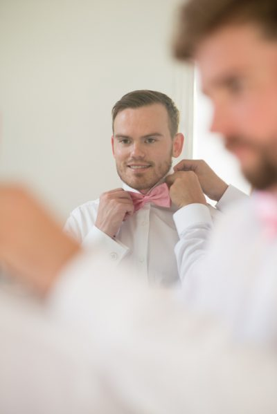 Groom getting ready before his wedding