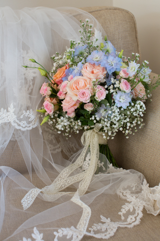 Beautiful wedding bouquet before Notley Tythe Barn wedding