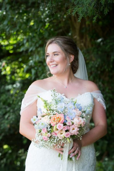 Beautiful bride at her Notley Tythe Barn Wedding