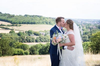 Bride and Groom at Notley Tythe Barn Wedding