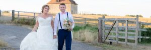 Bride and Groom in evening light at Notley Tythe Barn Wedding