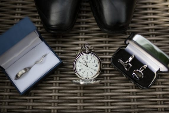 Ring, watch and cufflinks before wedding in Henley
