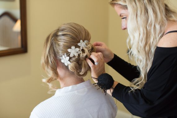 Bridal preparation before Henley Wedding