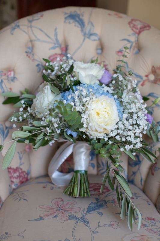 Bridal bouquet in blue and yellow at Henley Town Hall wedding