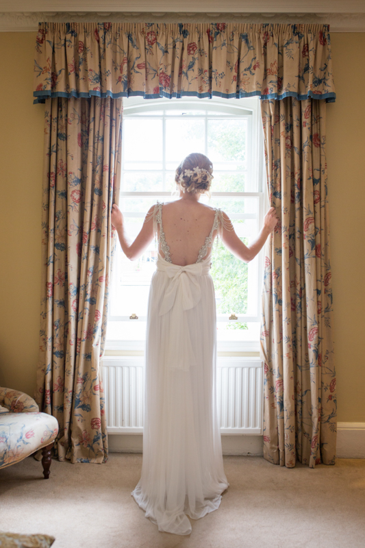 Back view of bride at Red Lion Hotel in Henley