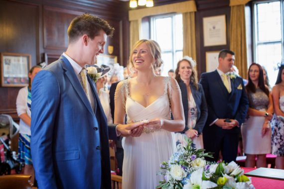 Bride and Groom at their wedding in Henley Town Hall