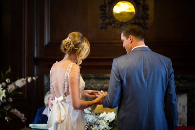 Bride and Groom getting married at Henley Town Hall