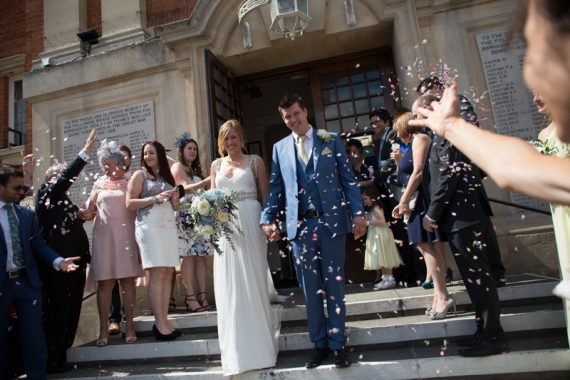 Confetti shot at Henley on Thames wedding