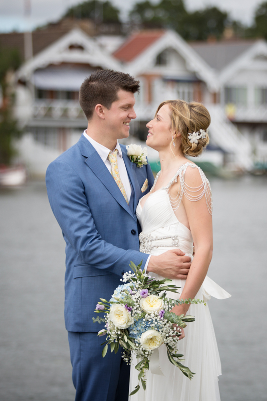 Bridal portrait outside Leander Club in Henley on Thames