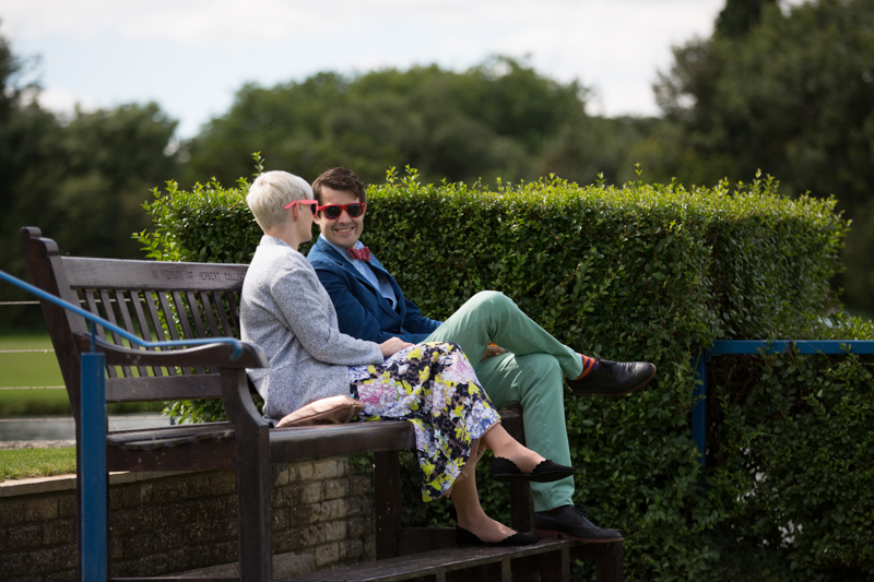 Couple chatting at Remenham Club wedding in Henley