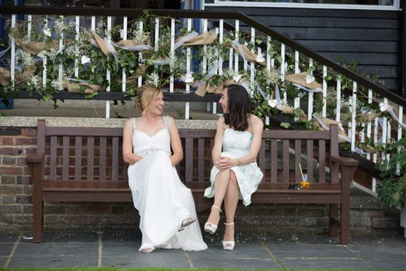 Bride and her friend at Remenham Club wedding in Henley