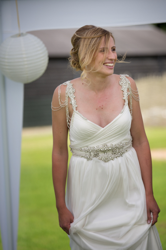 Natural portrait of bride at her wedding at Remenham Club in Henley
