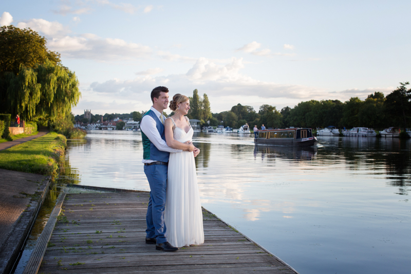 Bride and Groom at their wedding at Remenham Club in Henley