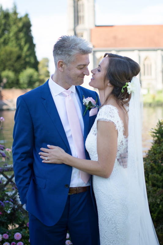 Bride and Groom with Marlow church in the background
