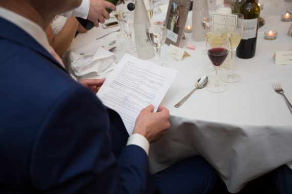 Best man going through his speech at Compleat Angler in Marlow