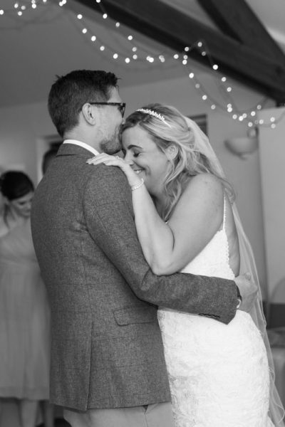 First dance at a wedding at Thame Tythe Barns