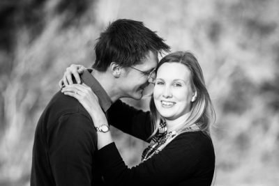 Relaxed and happy shot of engaged couple in Henley