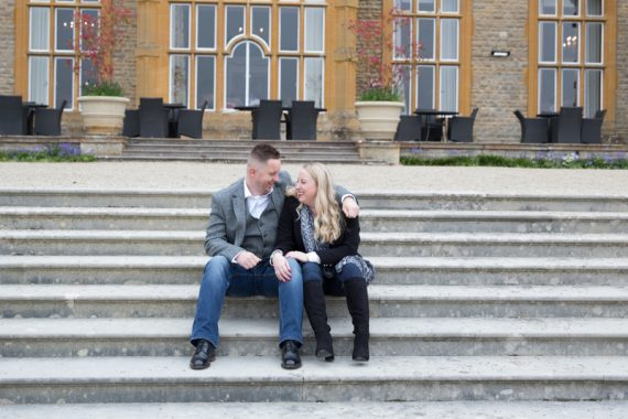 Couple on their engagement shoot at Eynsham Hall