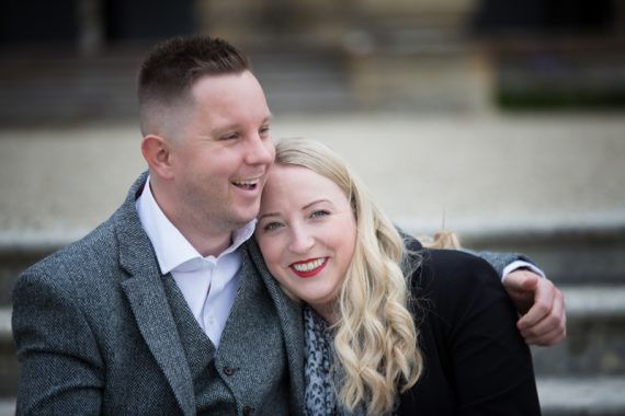Happy image of couple at pre wedding shoot at Eynsham Hall