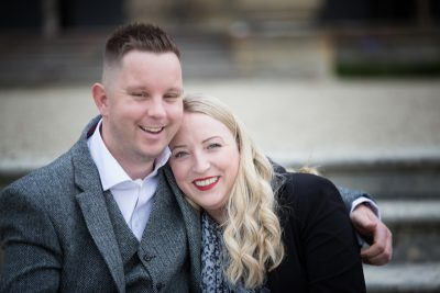 Couple looking happy and relaxed during their pre wedding shoot at Eynsham Hall