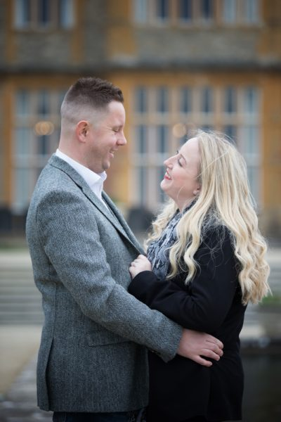 Bride and Groom to be during their pre wedding shoot at Eynsham Hall