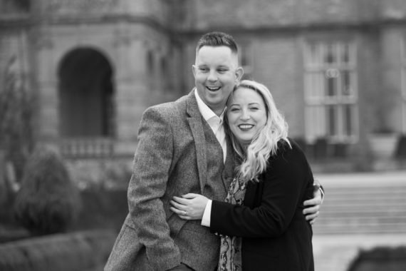 Beautiful bride and groom to be during their pre wedding shoot at Eynsham Hall in Oxfordshire