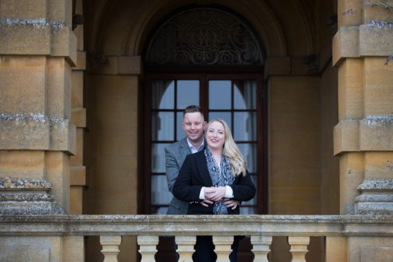 Bride and groom in their pre wedding shoot in Eynsham Hall, Oxfordshire