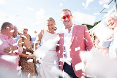 Confetti at Jersey wedding