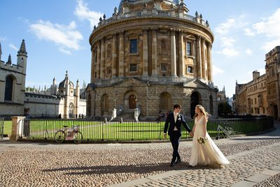Bride and Groom in front of Radcliffe Camera